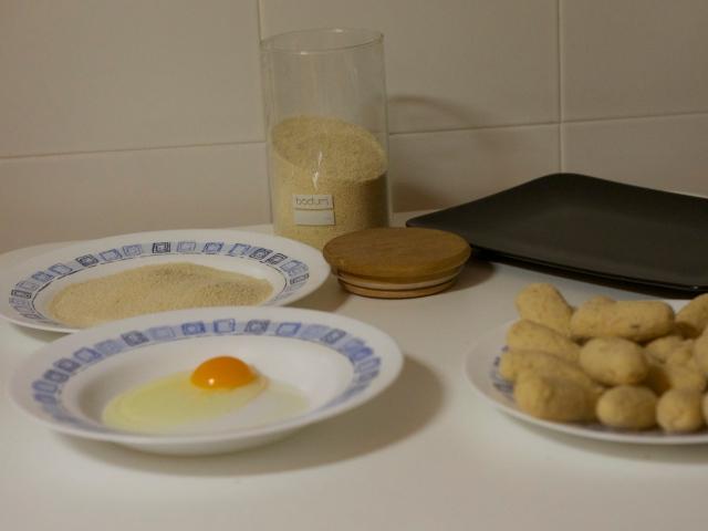 pan rallado y huevo